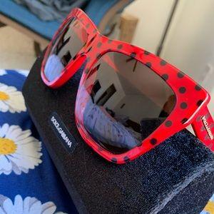 Dolce & Gabbana Square Red Polka Dot Sunglasses